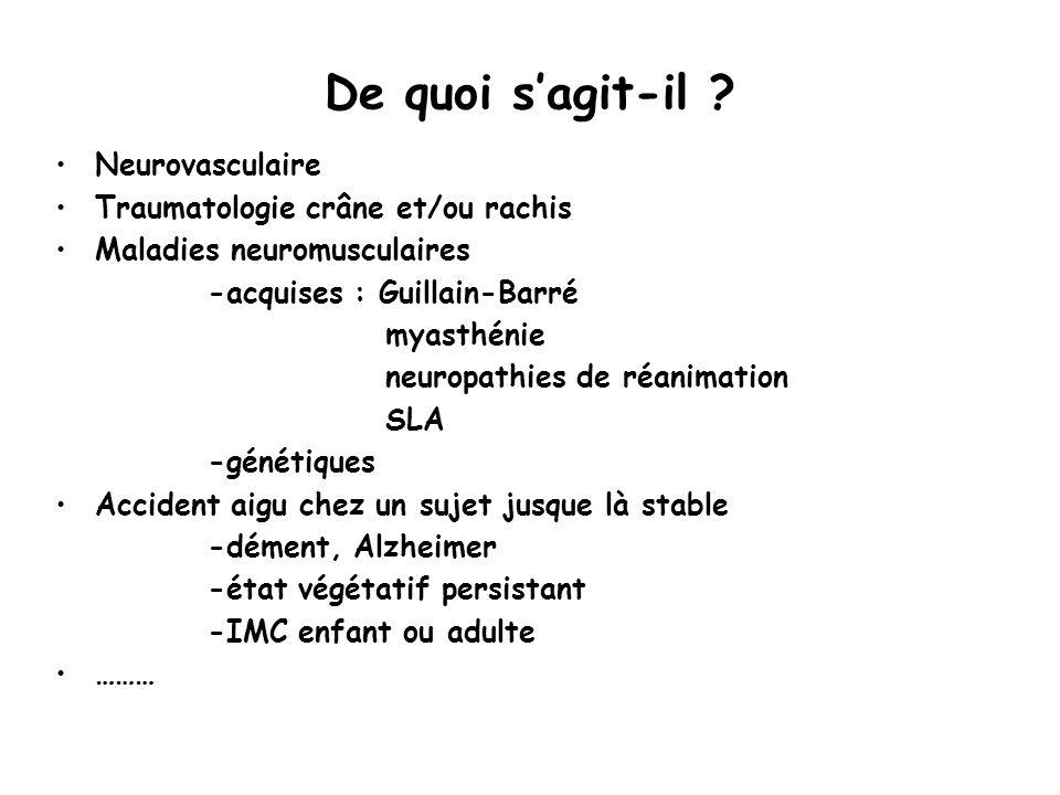 De quoi sagit-il ? Neurovasculaire Traumatologie crâne et/ou rachis Maladies neuromusculaires -acquises : Guillain-Barré myasthénie neuropathies de ré