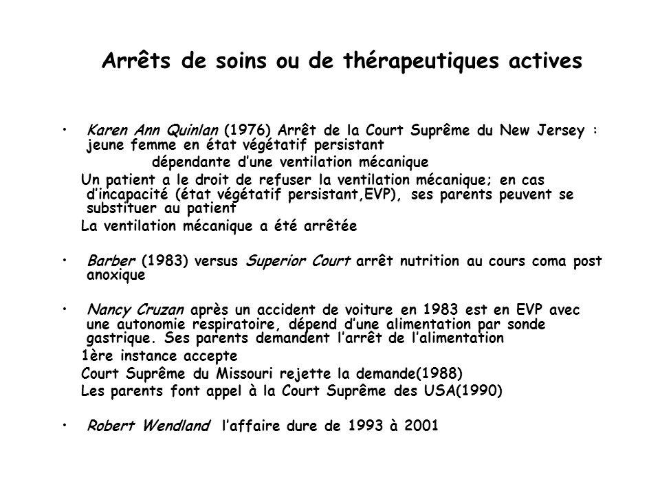 Arrêts de soins ou de thérapeutiques actives Karen Ann Quinlan (1976) Arrêt de la Court Suprême du New Jersey : jeune femme en état végétatif persista
