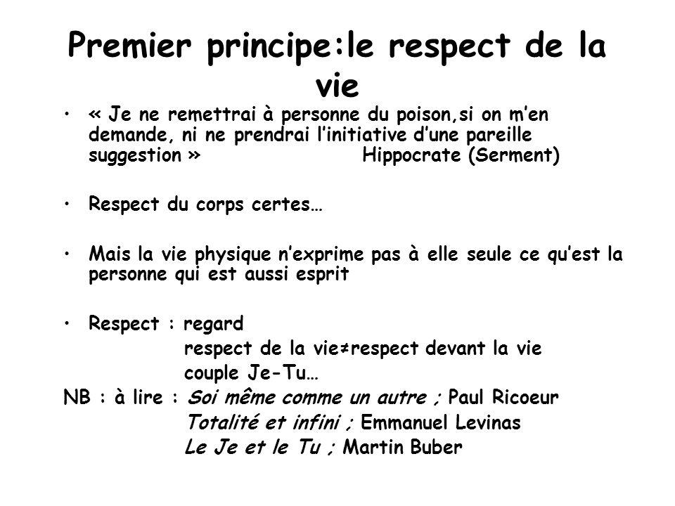 Premier principe:le respect de la vie « Je ne remettrai à personne du poison,si on men demande, ni ne prendrai linitiative dune pareille suggestion »