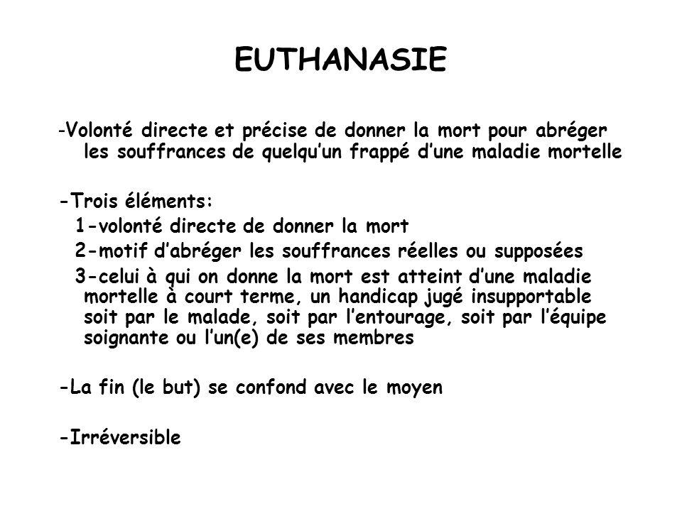 EUTHANASIE - Volonté directe et précise de donner la mort pour abréger les souffrances de quelquun frappé dune maladie mortelle -Trois éléments: 1-vol