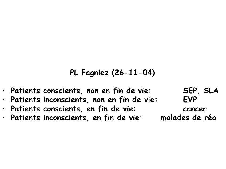 PL Fagniez (26-11-04) Patients conscients, non en fin de vie: SEP, SLA Patients inconscients, non en fin de vie: EVP Patients conscients, en fin de vi