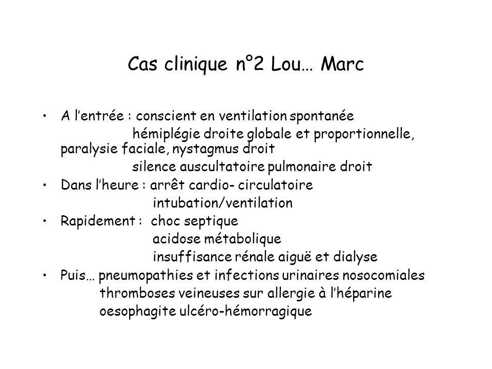 Cas clinique n°2 Lou… Marc A lentrée : conscient en ventilation spontanée hémiplégie droite globale et proportionnelle, paralysie faciale, nystagmus d