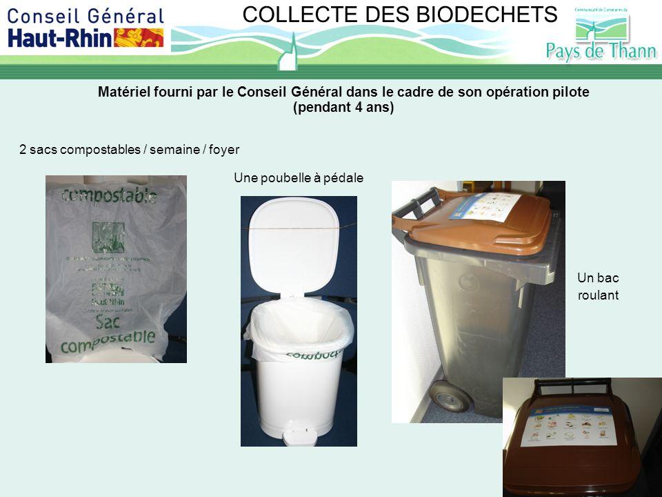 COLLECTE DES BIODECHETS Matériel fourni par le Conseil Général dans le cadre de son opération pilote (pendant 4 ans) 2 sacs compostables / semaine / f