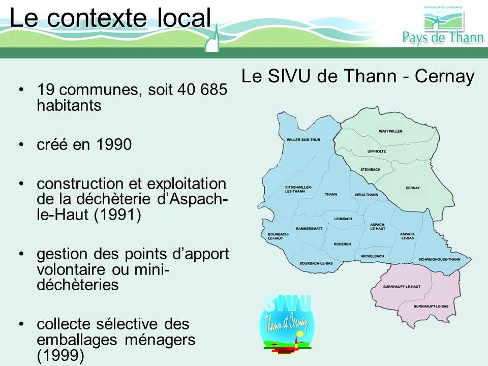 Le SIVU de Thann - Cernay 19 communes, soit 40 685 habitants créé en 1990 construction et exploitation de la déchèterie dAspach- le-Haut (1991) gestio