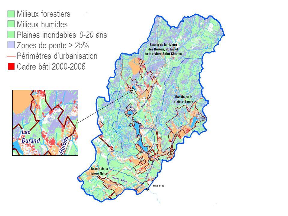 73,% 75,9% 82,4 Milieux forestiers Milieux humides Plaines inondables 0-20 ans Zones de pente > 25% Périmètres durbanisation Cadre bâti 2000-2006