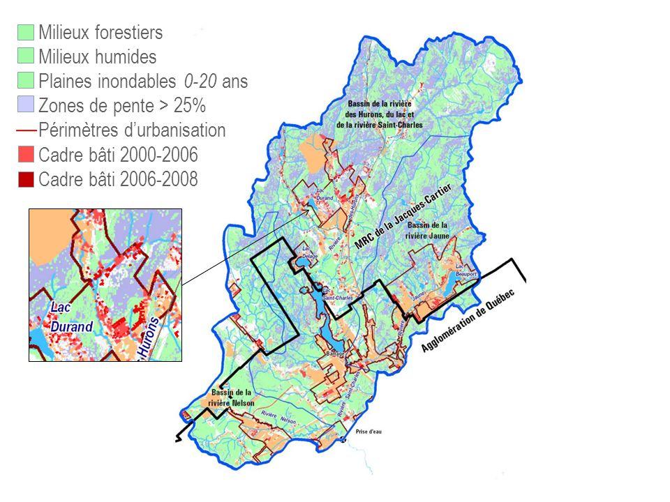 73,% 75,9% 82,4 Milieux forestiers Milieux humides Plaines inondables 0-20 ans Zones de pente > 25% Périmètres durbanisation Cadre bâti 2000-2006 Cadr