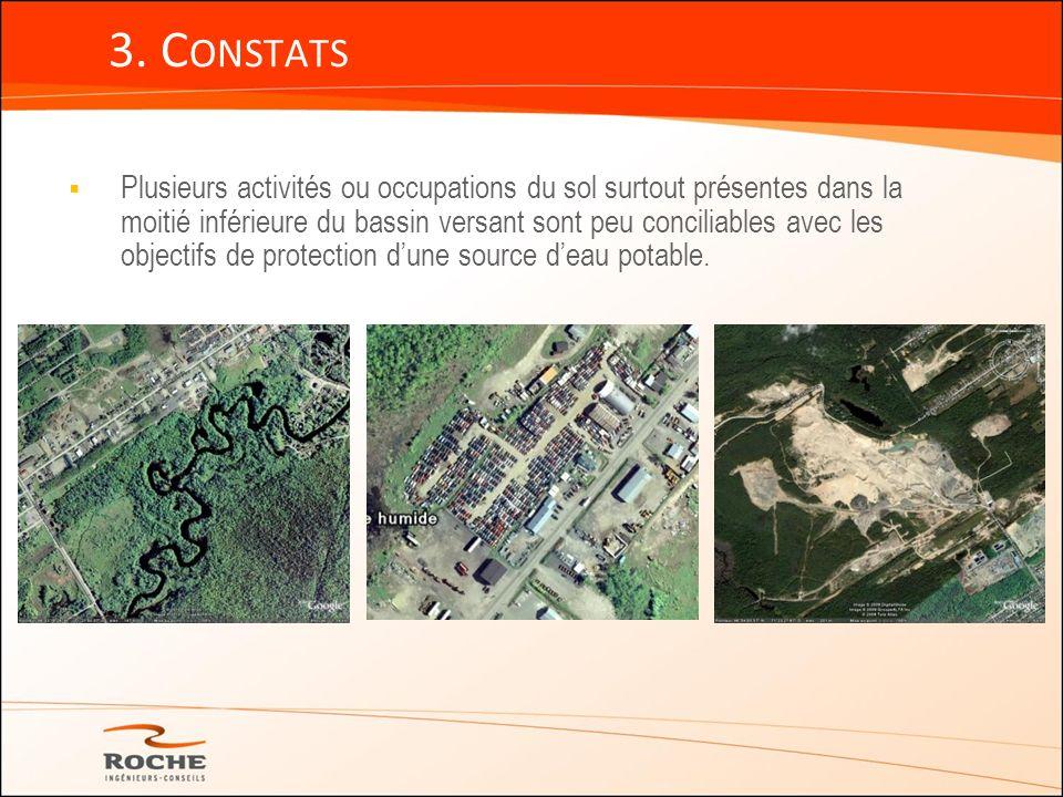 Plusieurs activités ou occupations du sol surtout présentes dans la moitié inférieure du bassin versant sont peu conciliables avec les objectifs de pr