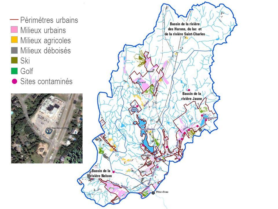 Périmètres urbains Milieux urbains Milieux agricoles Milieux déboisés Ski Golf Sites contaminés