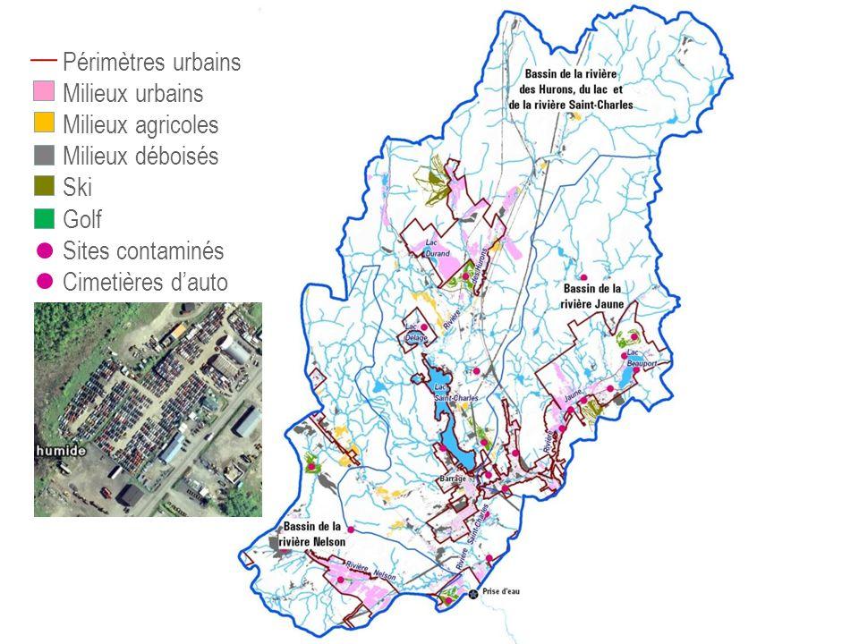 Périmètres urbains Milieux urbains Milieux agricoles Milieux déboisés Ski Golf Sites contaminés Cimetières dauto