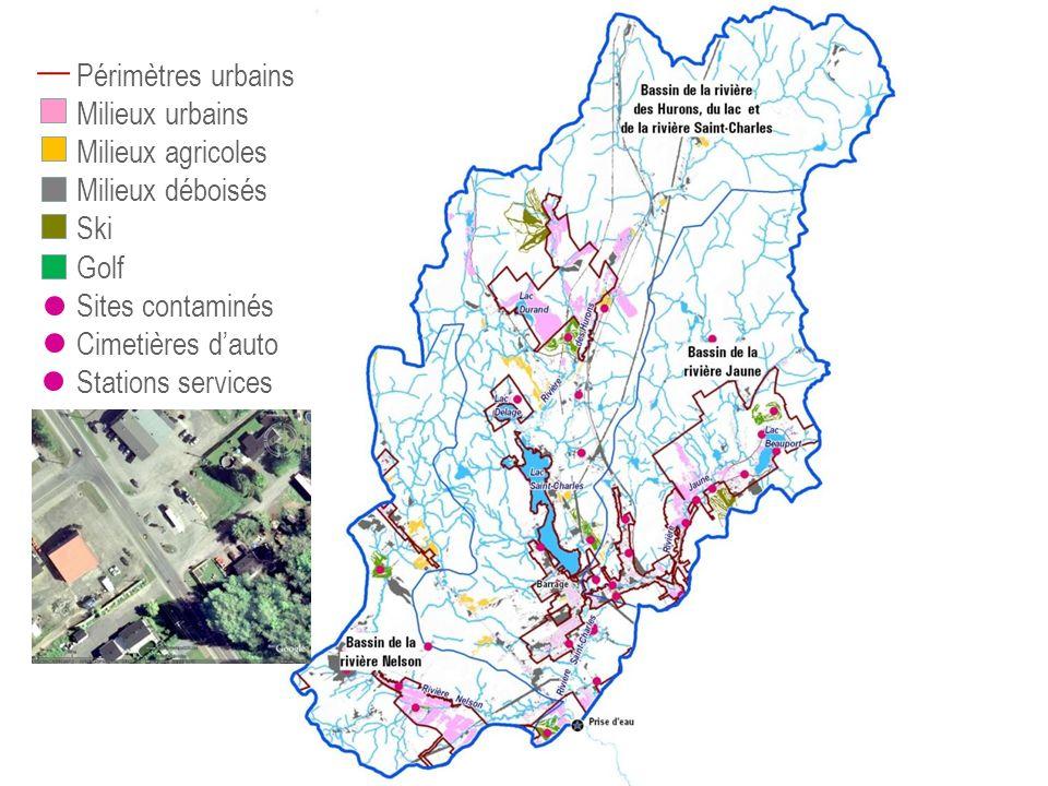 Périmètres urbains Milieux urbains Milieux agricoles Milieux déboisés Ski Golf Sites contaminés Cimetières dauto Stations services