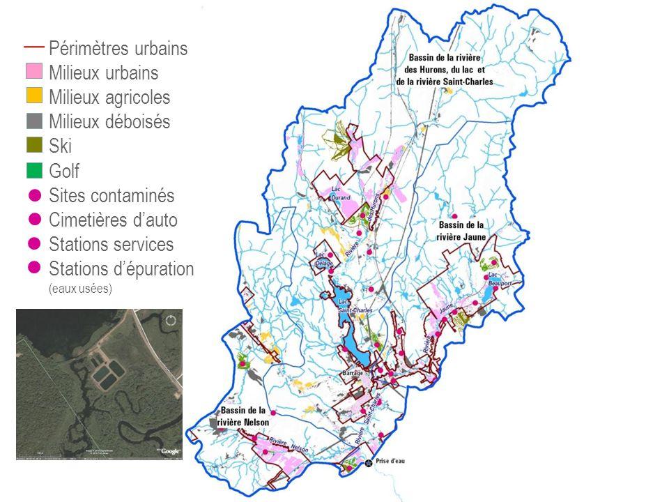 Périmètres urbains Milieux urbains Milieux agricoles Milieux déboisés Ski Golf Sites contaminés Cimetières dauto Stations services Stations dépuration