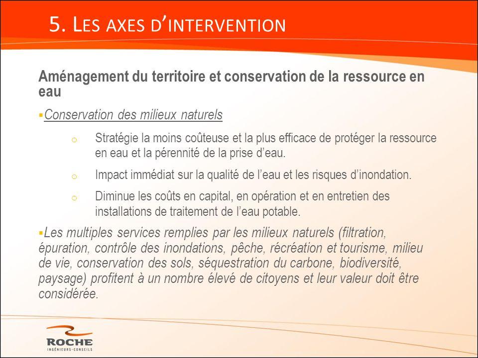 5. L ES AXES D INTERVENTION Aménagement du territoire et conservation de la ressource en eau Conservation des milieux naturels o Stratégie la moins co