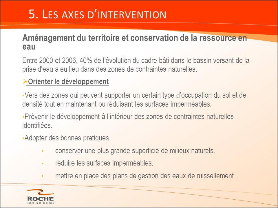 5. L ES AXES D INTERVENTION Aménagement du territoire et conservation de la ressource en eau Entre 2000 et 2006, 40% de lévolution du cadre bâti dans