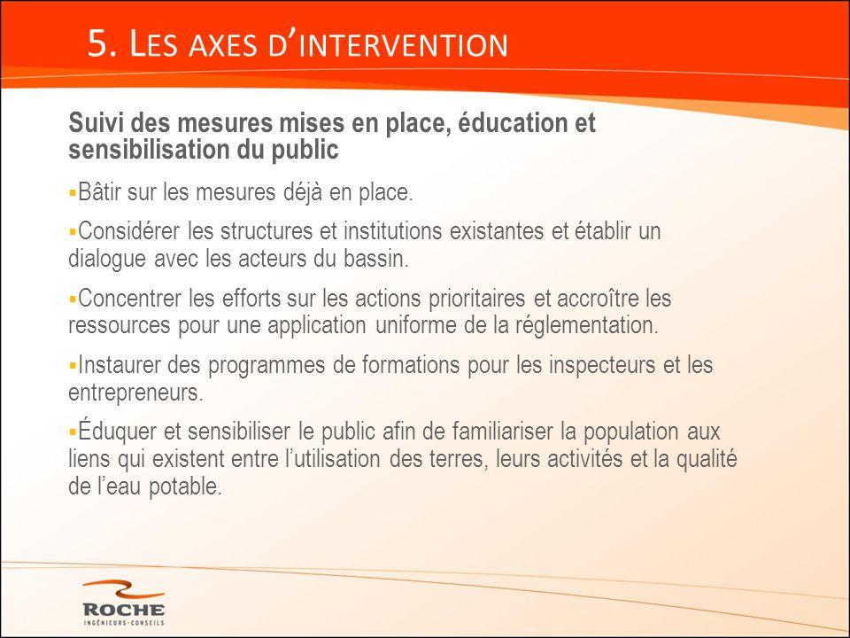 5. L ES AXES D INTERVENTION Suivi des mesures mises en place, éducation et sensibilisation du public Bâtir sur les mesures déjà en place. Considérer l