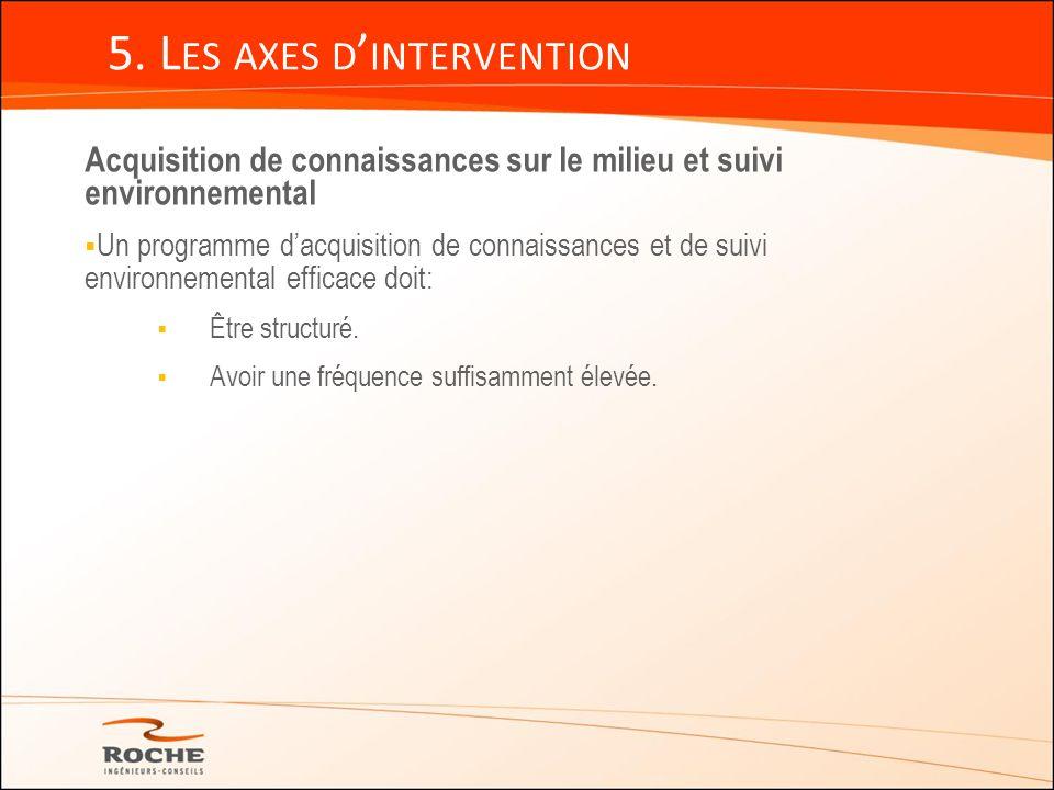 5. L ES AXES D INTERVENTION Acquisition de connaissances sur le milieu et suivi environnemental Un programme dacquisition de connaissances et de suivi