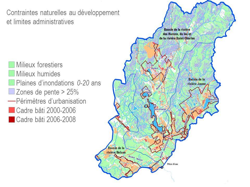 73,% 75,9% 82,4 Contraintes naturelles au développement et limites administratives Milieux forestiers Milieux humides Plaines dinondations 0-20 ans Zo