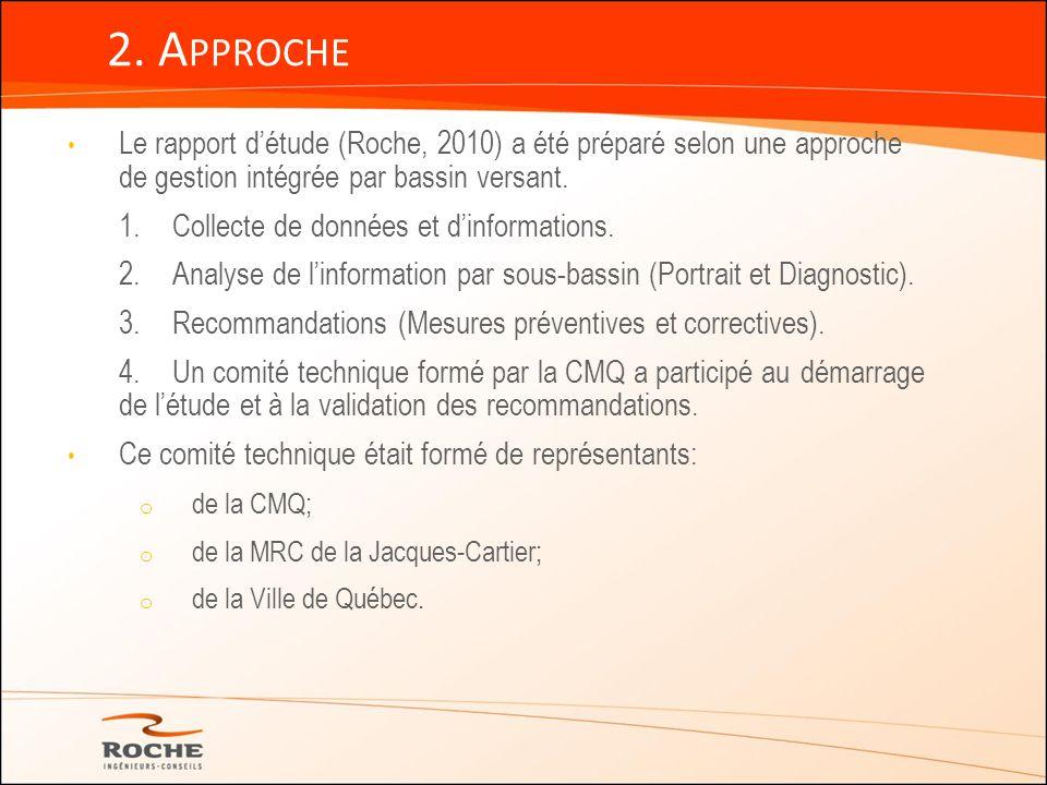Le rapport détude (Roche, 2010) a été préparé selon une approche de gestion intégrée par bassin versant. 1.Collecte de données et dinformations. 2. An
