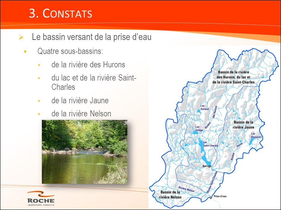 3. C ONSTATS Le bassin versant de la prise deau Quatre sous-bassins: de la rivière des Hurons du lac et de la rivière Saint- Charles de la rivière Jau