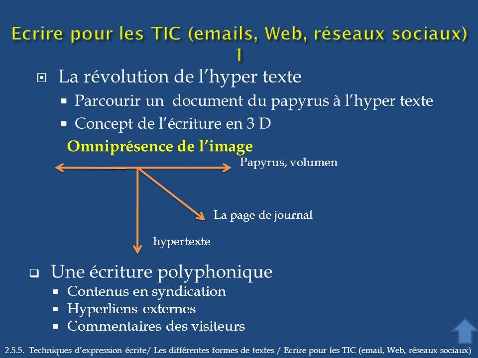 La révolution de lhyper texte Parcourir un document du papyrus à lhyper texte Concept de lécriture en 3 D 2.5.5. Techniques dexpression écrite/ Les di