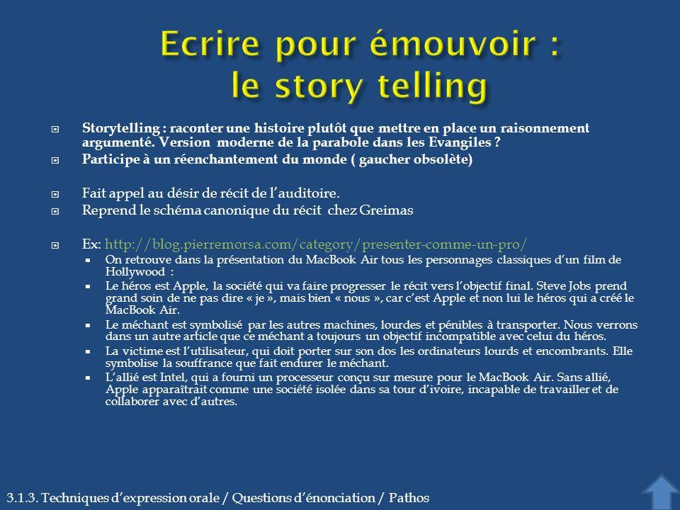Storytelling : raconter une histoire plutôt que mettre en place un raisonnement argumenté. Version moderne de la parabole dans les Evangiles ? Partici