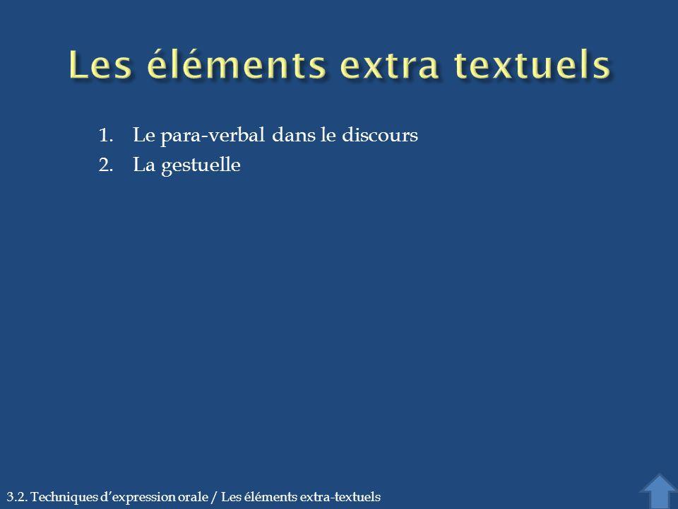 1. Le para-verbal dans le discours 2. La gestuelle 3.2. Techniques dexpression orale / Les éléments extra-textuels
