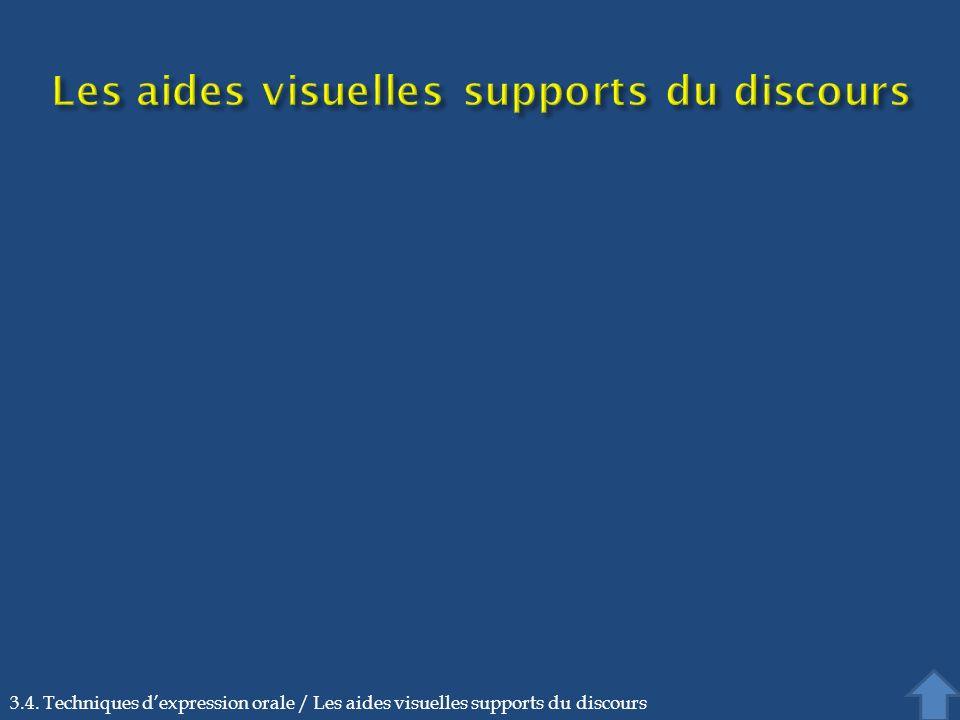 3.4. Techniques dexpression orale / Les aides visuelles supports du discours