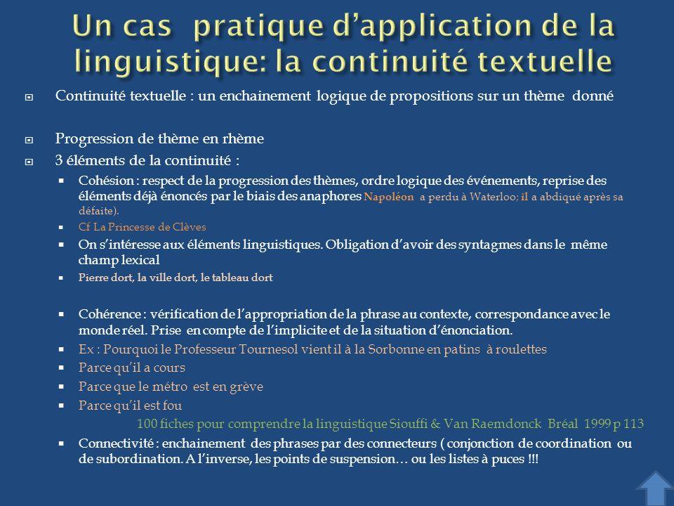 Continuité textuelle : un enchainement logique de propositions sur un thème donné Progression de thème en rhème 3 éléments de la continuité : Cohésion