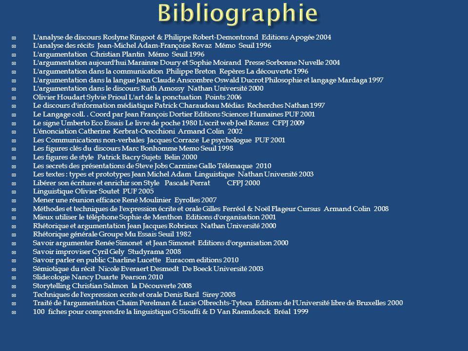 L'analyse de discours Roslyne Ringoot & Philippe Robert-Demontrond Editions Apogée 2004 L'analyse des récits Jean-Michel Adam-Françoise Revaz Mémo Seu