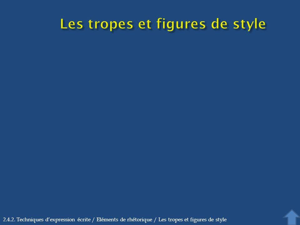 2.4.2. Techniques dexpression écrite / Eléments de rhétorique / Les tropes et figures de style