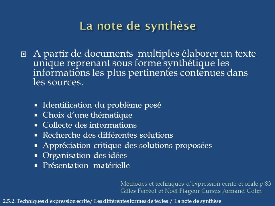 A partir de documents multiples élaborer un texte unique reprenant sous forme synthétique les informations les plus pertinentes contenues dans les sou