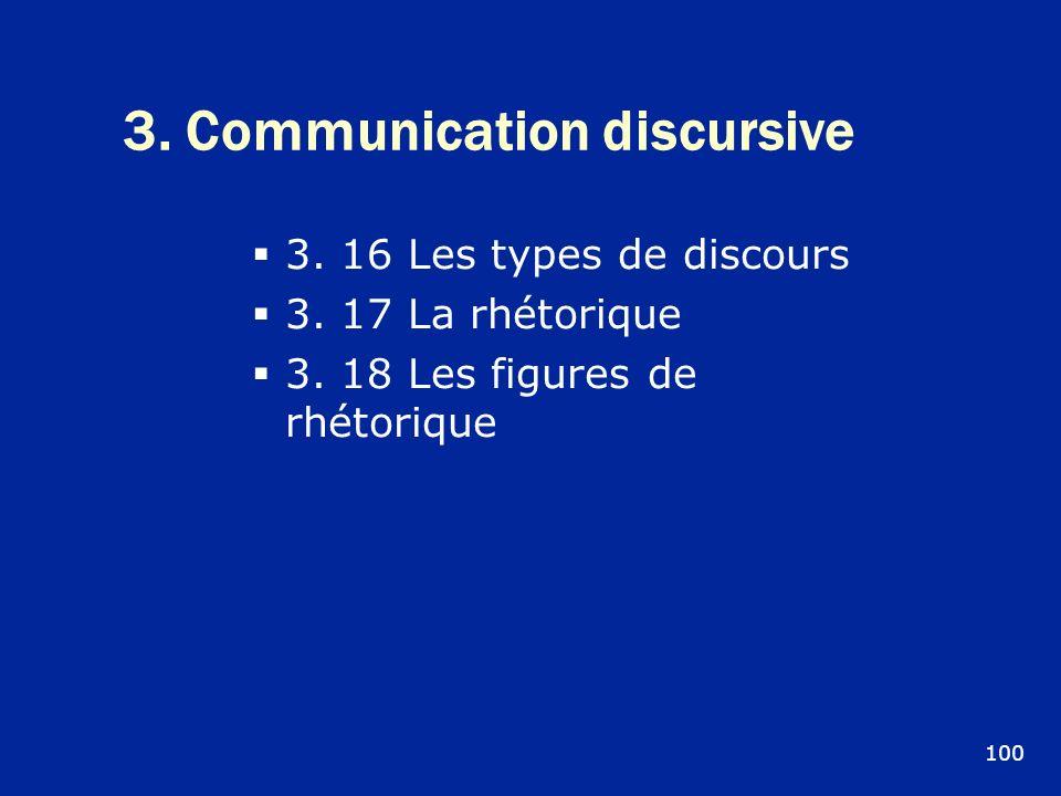 3. Communication discursive 3. 16 Les types de discours 3. 17 La rhétorique 3. 18 Les figures de rhétorique 100