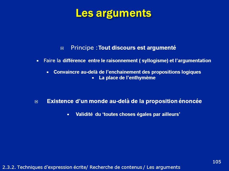 Les arguments 2.3.2. Techniques dexpression écrite/ Recherche de contenus / Les arguments Principe : Tout discours est argumenté Faire la différence e