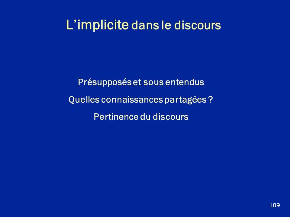 Limplicite dans le discours Présupposés et sous entendus Quelles connaissances partagées ? Pertinence du discours 109