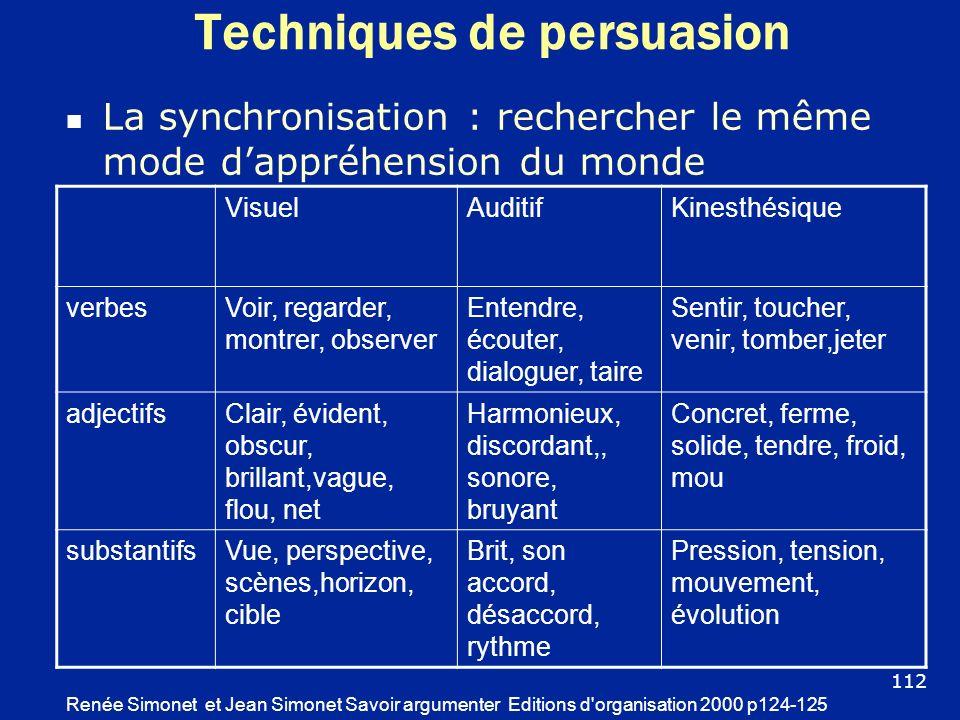 Techniques de persuasion La synchronisation : rechercher le même mode dappréhension du monde Renée Simonet et Jean Simonet Savoir argumenter Editions