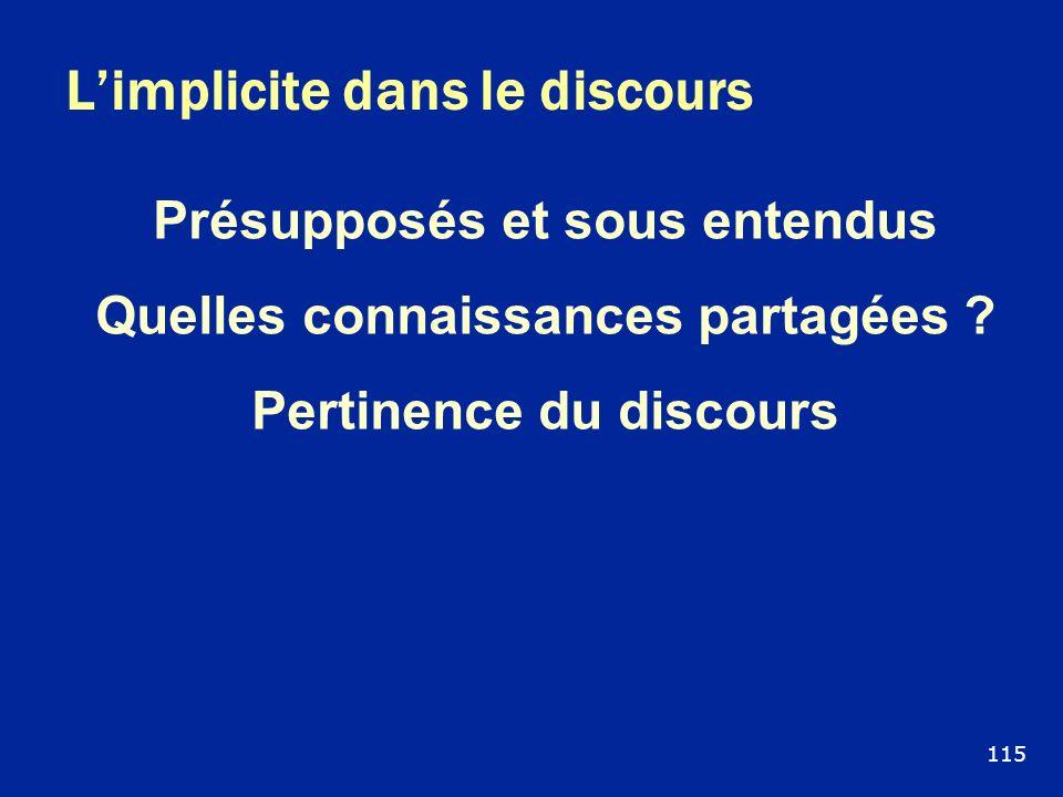 Limplicite dans le discours Présupposés et sous entendus Quelles connaissances partagées ? Pertinence du discours 115