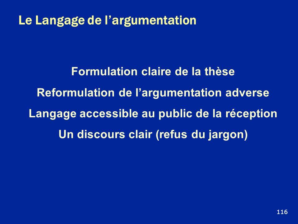 Le Langage de largumentation Formulation claire de la thèse Reformulation de largumentation adverse Langage accessible au public de la réception Un di