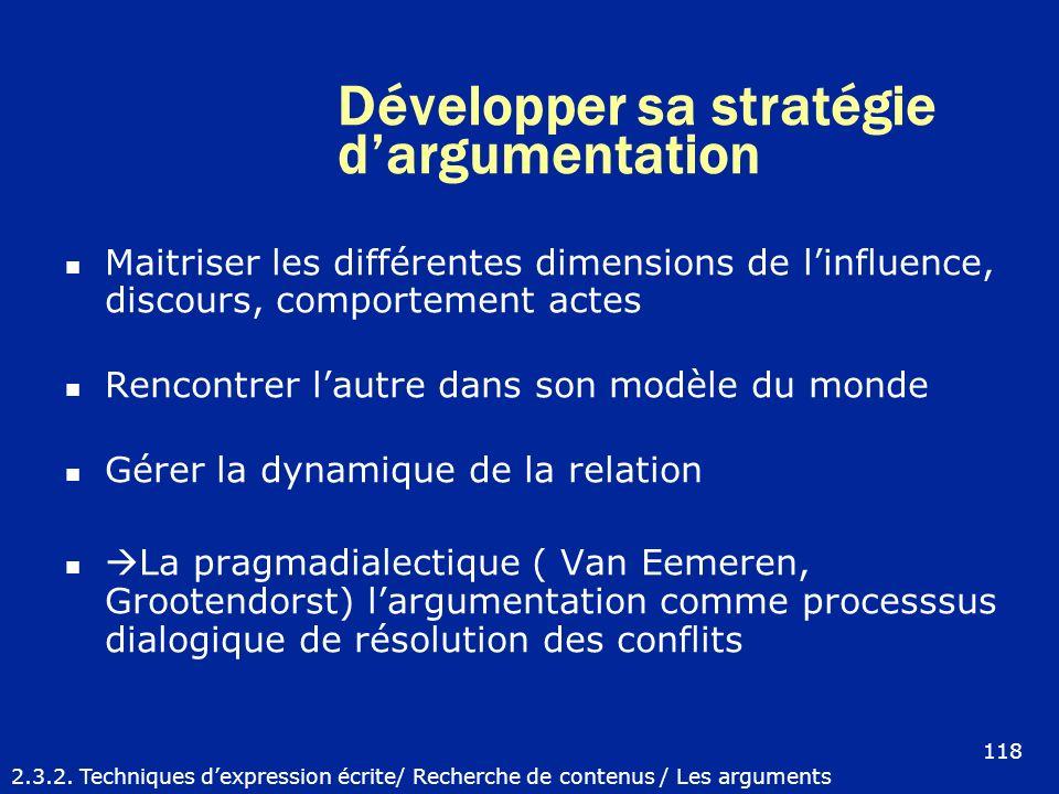 Développer sa stratégie dargumentation Maitriser les différentes dimensions de linfluence, discours, comportement actes Rencontrer lautre dans son mod