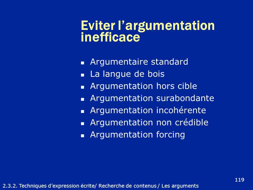 Eviter largumentation inefficace Argumentaire standard La langue de bois Argumentation hors cible Argumentation surabondante Argumentation incohérente