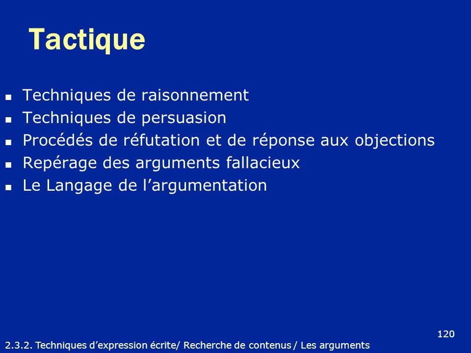 Tactique Techniques de raisonnement Techniques de persuasion Procédés de réfutation et de réponse aux objections Repérage des arguments fallacieux Le