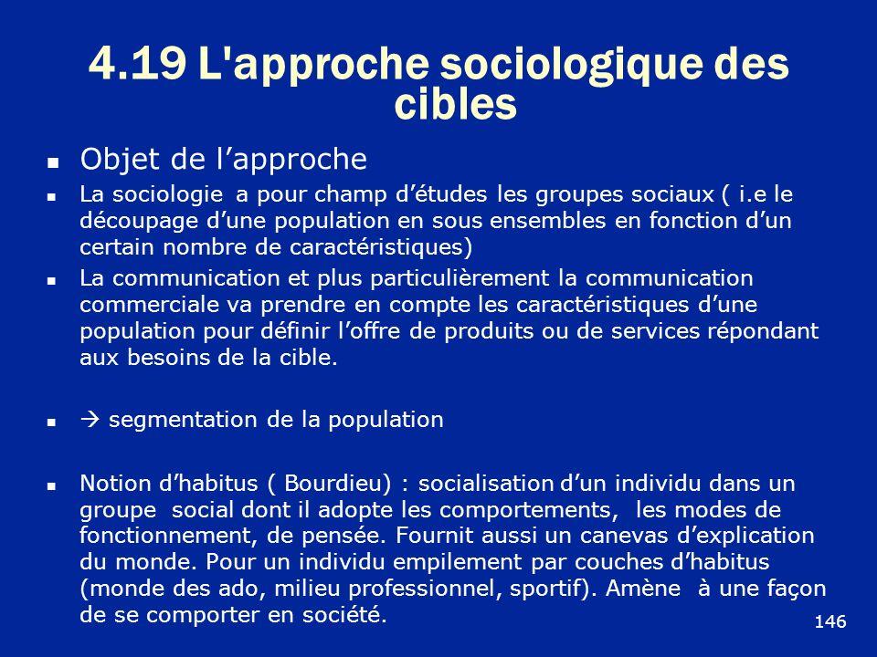 4.19 L'approche sociologique des cibles Objet de lapproche La sociologie a pour champ détudes les groupes sociaux ( i.e le découpage dune population e