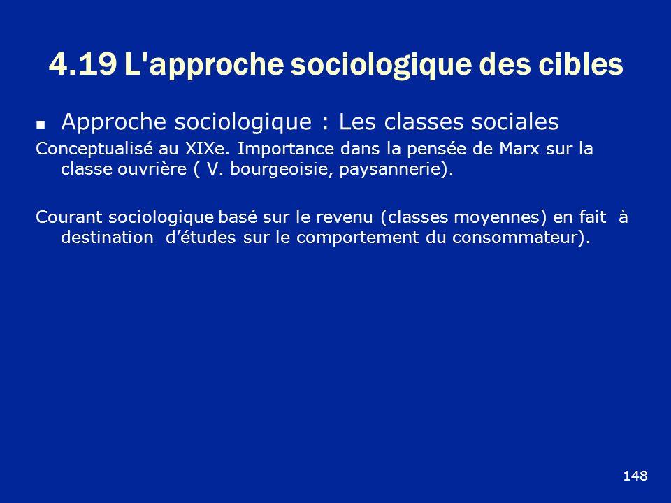 4.19 L'approche sociologique des cibles Approche sociologique : Les classes sociales Conceptualisé au XIXe. Importance dans la pensée de Marx sur la c