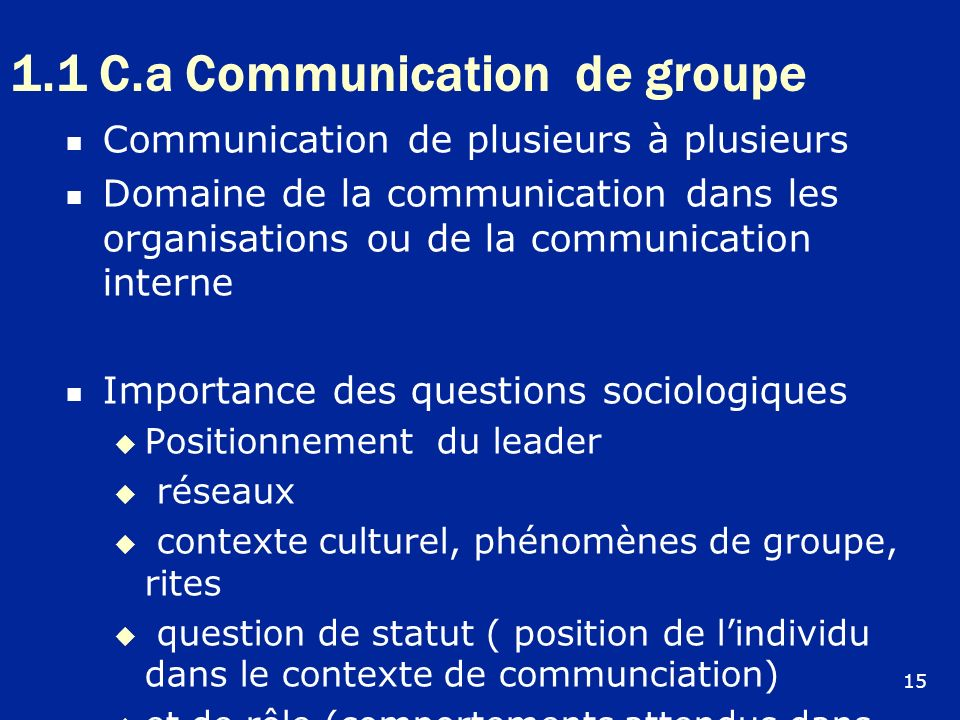 1.1 C.a Communication de groupe Communication de plusieurs à plusieurs Domaine de la communication dans les organisations ou de la communication inter