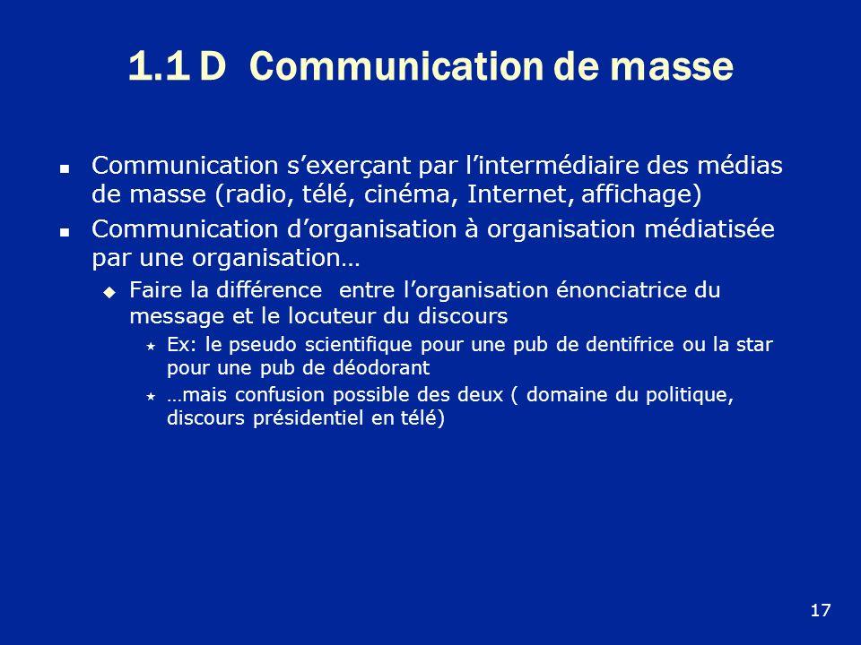 1.1 D Communication de masse Communication sexerçant par lintermédiaire des médias de masse (radio, télé, cinéma, Internet, affichage) Communication d
