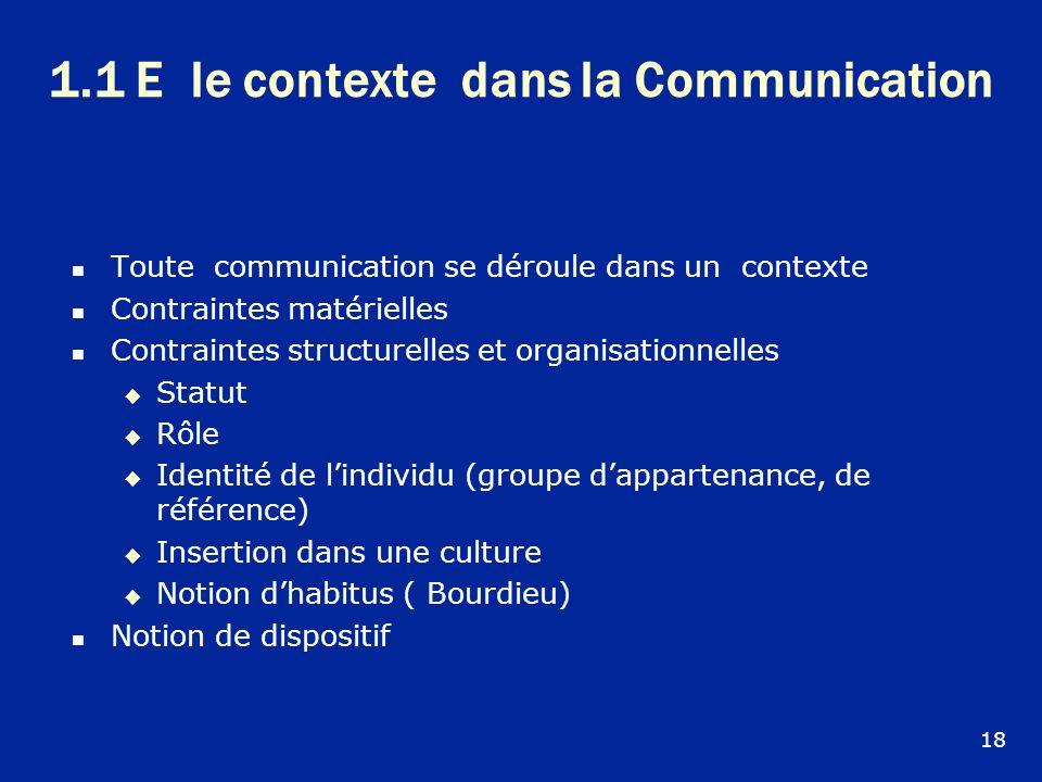 1.1 E le contexte dans la Communication Toute communication se déroule dans un contexte Contraintes matérielles Contraintes structurelles et organisat