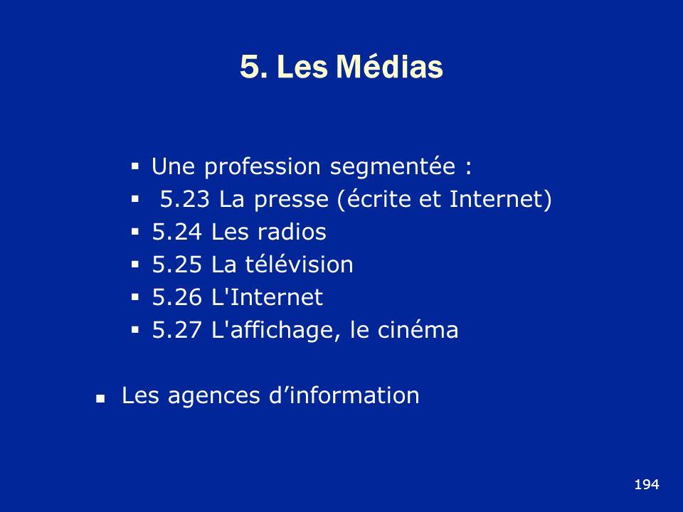 5. Les Médias Une profession segmentée : 5.23 La presse (écrite et Internet) 5.24 Les radios 5.25 La télévision 5.26 L'Internet 5.27 L'affichage, le c