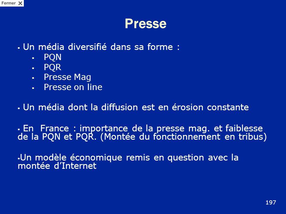 Presse Un média diversifié dans sa forme : PQN PQR Presse Mag Presse on line Un média dont la diffusion est en érosion constante En France : importanc