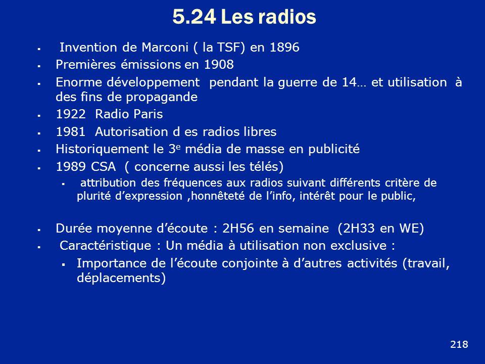 5.24 Les radios 218 Invention de Marconi ( la TSF) en 1896 Premières émissions en 1908 Enorme développement pendant la guerre de 14… et utilisation à