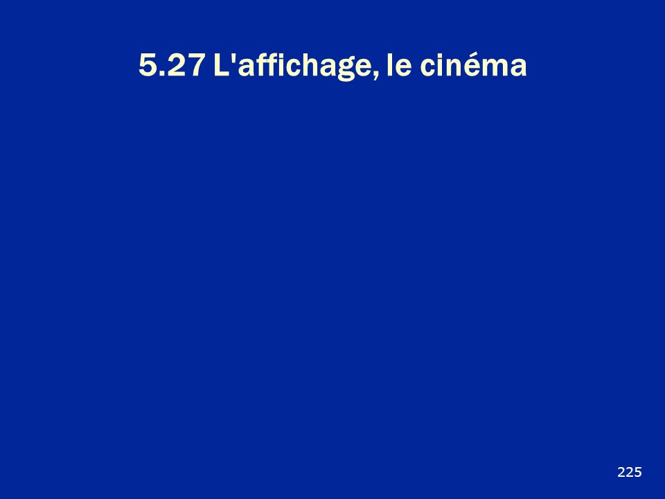 5.27 L'affichage, le cinéma 225