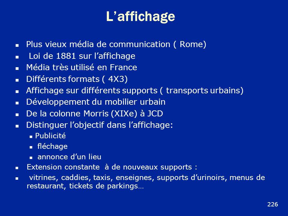 Laffichage Plus vieux média de communication ( Rome) Loi de 1881 sur laffichage Média très utilisé en France Différents formats ( 4X3) Affichage sur d