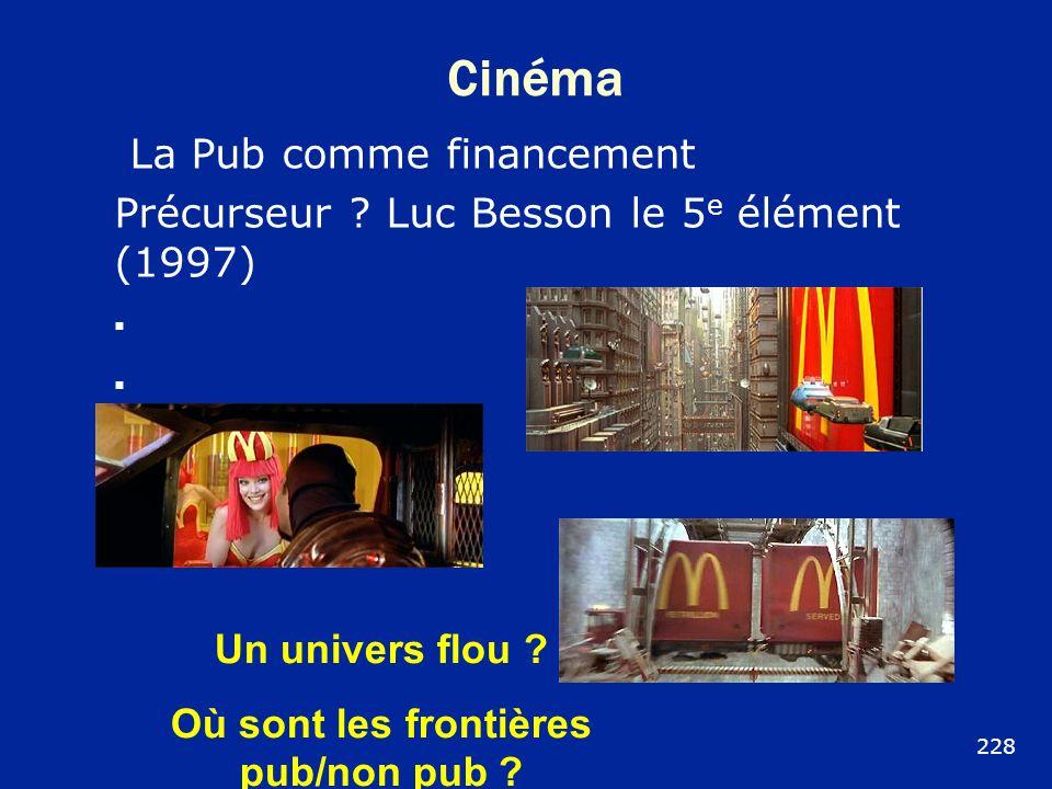 Cinéma La Pub comme financement Précurseur ? Luc Besson le 5 e élément (1997) Un univers flou ? Où sont les frontières pub/non pub ? 228